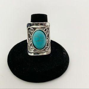 Turquoise Silver Boho Fashion Ring #7